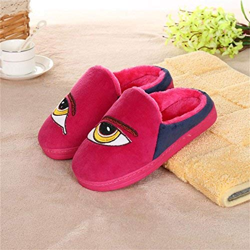 pink red JaHGDU Ladies Casual Wool Slippers are Warm in Autumn and Winter Leather Slippers bluee Pink pink Red for Women