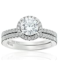 Amazon Collection Cubic Zirconia Round Frame Bridal Set in Sterling Silver Wedding Ring