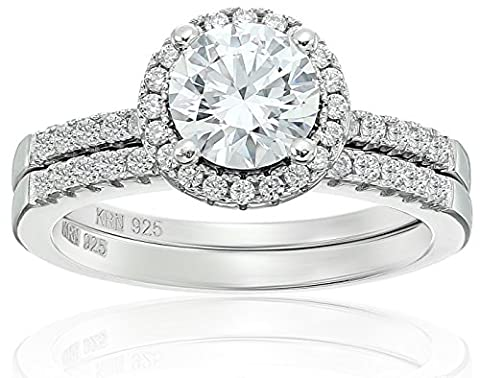 Amazon Collection Cubic Zirconia Round Frame Bridal Set in Sterling Silver Wedding Ring, Size 6 - Silver Wedding Collection