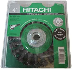 Hitachi 729273 4-Inch Multi-Arbor Twist Knot Carbon Steel Wire Wheel Brush