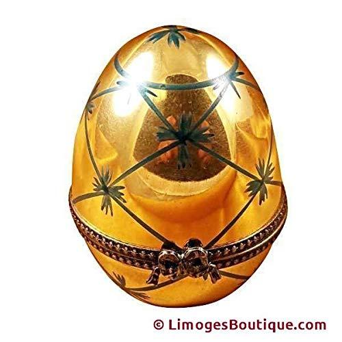 GOLD EGG - LIMOGES PORCELAIN FIGURINE BOXES AUTHENTIC IMPORTS