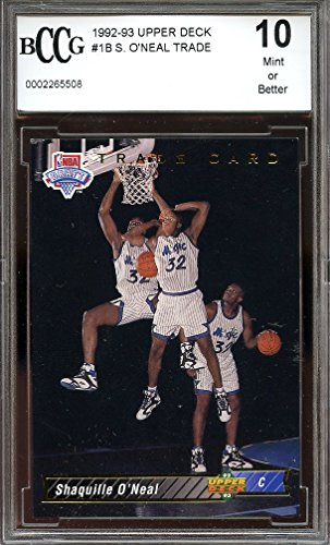 1992-93-upper-deck-1b-shaquille-oneal-trade-orlando-magic-rookie-bgs-bccg-10-graded-card