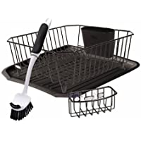 4-Piece Rubbermaid Antimicrobial Sink Dish Rack Drainer Set (Black )