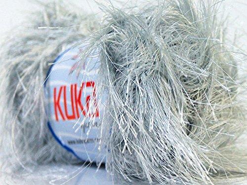 Long Eyelash Yarn (Kuka Silver Jungle Long Eyelash Yarn Ethereal Light Grey 50 Gram)