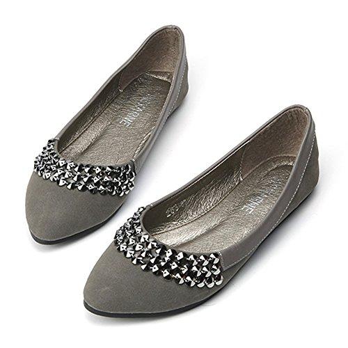Easemax Moda Mujer Coreana Punta Estrecha Zapatos De Con Cuentas De Corte Bajo Gris
