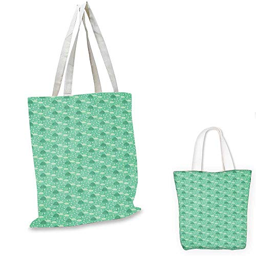 Umbrella canvas laptop bag Wet Autumn Weather in September Theme Doodle Clouds Heavy Rainfall shopping bag for women Sea Green Pale Green Cream. 16