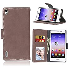 Ascend P7 Case, SATURCASE Retro Frosted PU Leather Flip Magnet Wallet Stand Card Slots Case Cover for Huawei Ascend P7 (Brown)