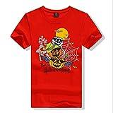 hongtufangchan Women's Halloween Pumpkin mask short sleeve T-shirt Red Size S