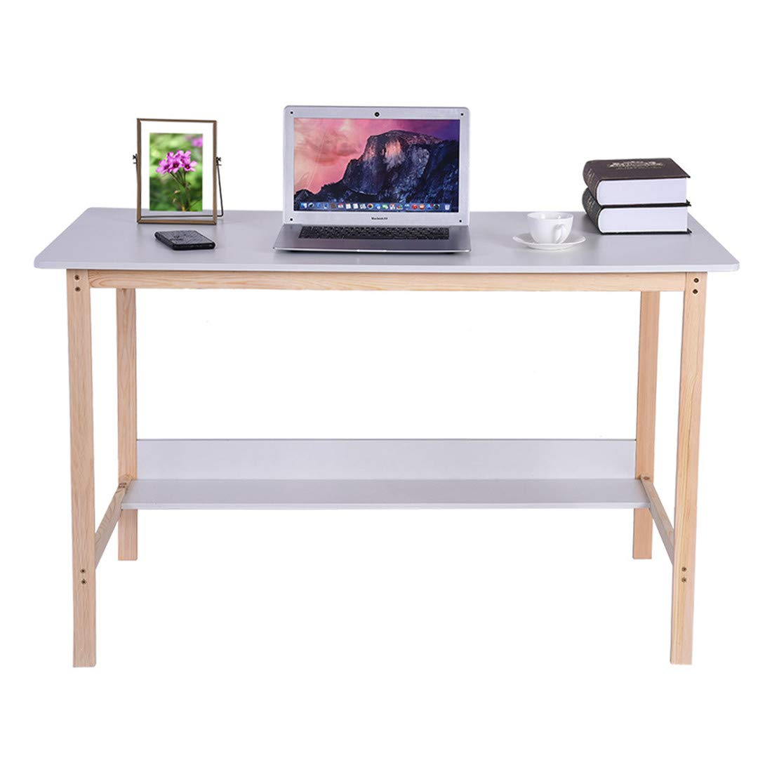 Simple Computer Desk Multi-Purpose Table Large-Capacity Storage Modern Home Bedroom Solid Wood Table,Shipped from The US (White, 120×60×74cm) by Freeby-US
