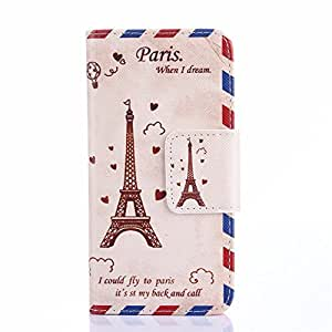 4S Case,iPhone 4S leather Case,iPhone 4S Wallet Case,YiLin [Stand Feature] Fashion [Dream Eiffel Tower Pattern] Soft TPU Wallet Cover [Wallet S] [Built-in ID Card Slot] Premium PU Leather Wallet Case With Stand Flip Cover For Apple iPhone 4 4S + Wristband with Our Shop Logo