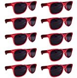 BULK UNISEX SUNGLASSES- Retro Neon Party Style (Weddings, Promotions, Birthdays) (Red)