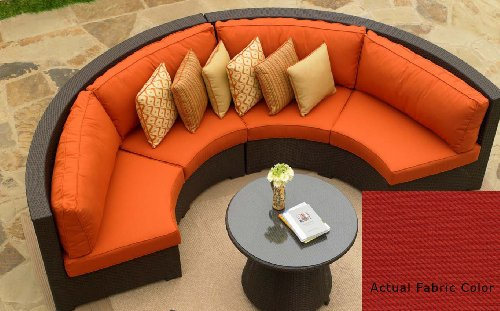 4-Piece Resin Wicker Malibu Curved Sectional Sofa with Ruby Red Cushions