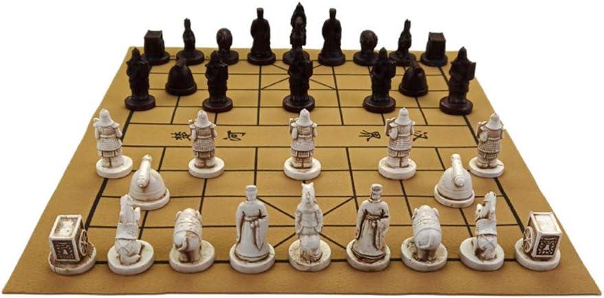 KOUPA Juego de Viaje de ajedrez Chino - Estilo de Guerreros de Terracota 3D, Piezas de ajedrez