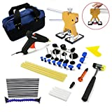 Wcaro Auto Dent Remover Pdr Tools-Paintless Dent Repair Tools Car Dent Repair Kit Hail Repair Tool Dent Removal Kit with Gold Dent Lifter Dent Puller Bridge Puller Line Board PDR Dent Glue Puller Kit