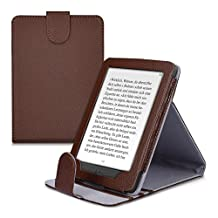 kwmobile Elegant synthetic leather case for the Kobo Glo HD (N437) / Touch 2.0 with practical stand function in dark brown