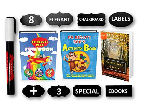 Chalkboard Labels | 8 Special Unique Designs | FREE Fun eBook, Activity eBook & Motivational eBook | Erasable White Chalk Marker | Reusable Labels | Stickers For Kitchens, Pantries, Jars, Boxes |