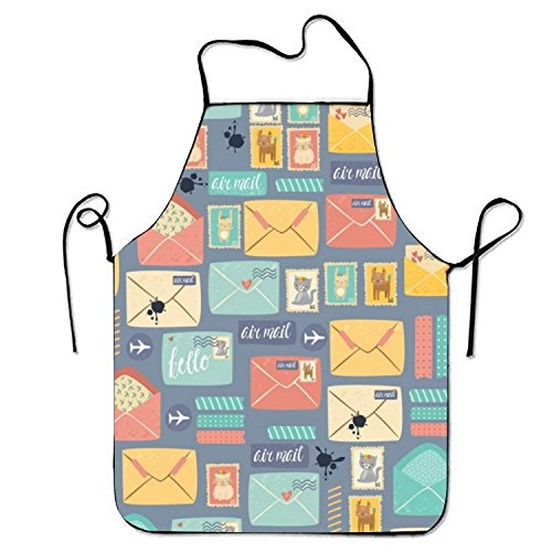 Pattern Postal Stationery Kitchen Cooking Apron For Women And Men Adjustable Neck Strap Restaurant Home Kitchen Apron Bib For Cooking, BBQ