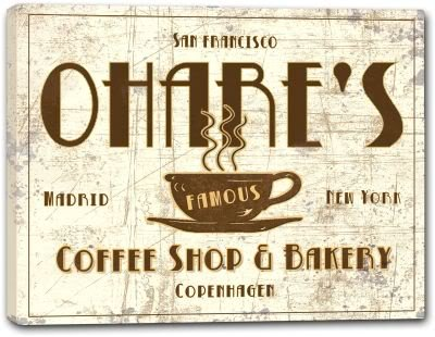 OHARE'S Coffee Shop & Bakery Gallery Wrapped Canvas Sign Home Wall Decor Gift 24