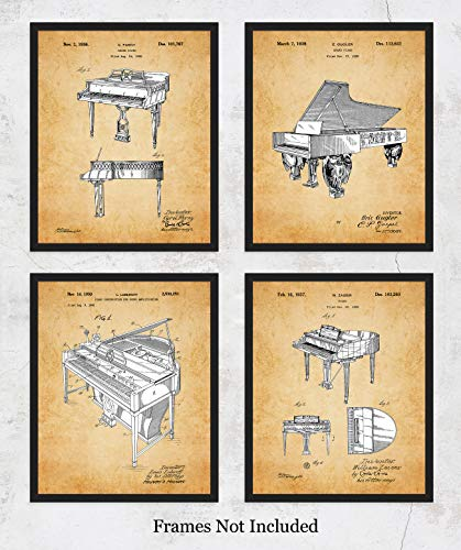 Vintage Piano Patent Wall Art Prints: Unique Room Decor for Boys, Men, Girls & Women - Set of Four (8x10) Unframed Pictures - Great Gift Idea for All Piano Players and Music Lovers! (Players Great Piano)