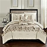 Chic Home 10 Piece Denver Rouching Pleated Ruffles Complete Bed In A Bag Comforter Set Sheets Set And Deocrative Pillows Included, King, Beige