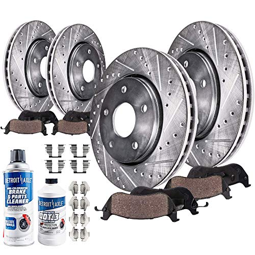 Detroit Axle - All (4) Front and Rear Drilled and Slotted Disc Brake Kit Rotors w/Ceramic Pads w/Hardware & Brake Kit Cleaner for 07-09 Chrysler Aspen/Dodge Durango - [06-17 Dodge Ram 1500 5-LUG]