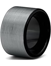 Tungsten Wedding Band Ring 12mm for Men Women Comfort Fit Black Enamel Pipe Cut Brushed Lifetime Guarantee