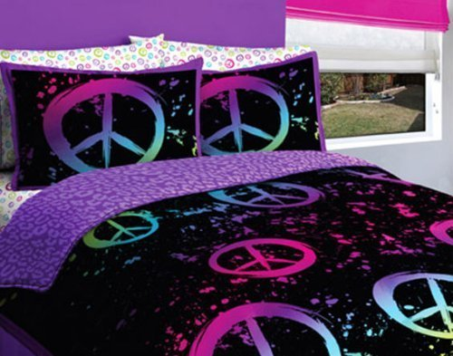 Girls Peace Sign - Black Purple Pink Peace Sign Queen Girls Comforter Set (7 Piece Bed In A Bag)