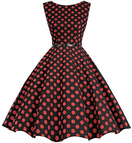 Clásico Red Vintage Bbonlinedress Rockabilly Dot Black Retro Big 50s Vestidos EXwXrq0a