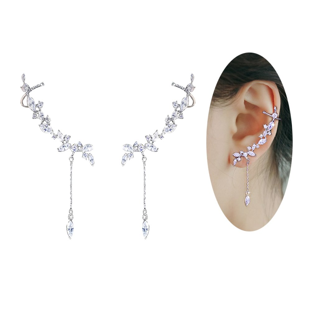 Amaer Hypo Allergenic CZ Stones Flowers Crawler Earrings for Women Sparkling Leaves Climber Earrings Cuff