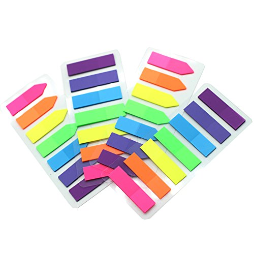 Megrocle 4 Packs Index Tabs Neon Page Marker Colored Index Tabs Fluorescent Sticky Note for Marking for Page Marker 560 Pieces