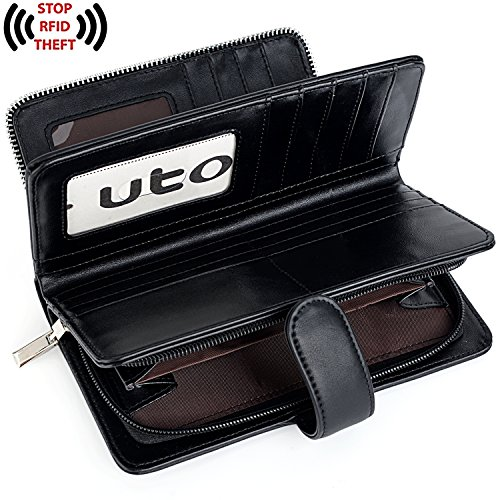 UTO Women PU Leather Wallet RFID Blocking Large Capacity 15 Card Slots Smartphone Holder Snap Closure New Black by UTO (Image #4)