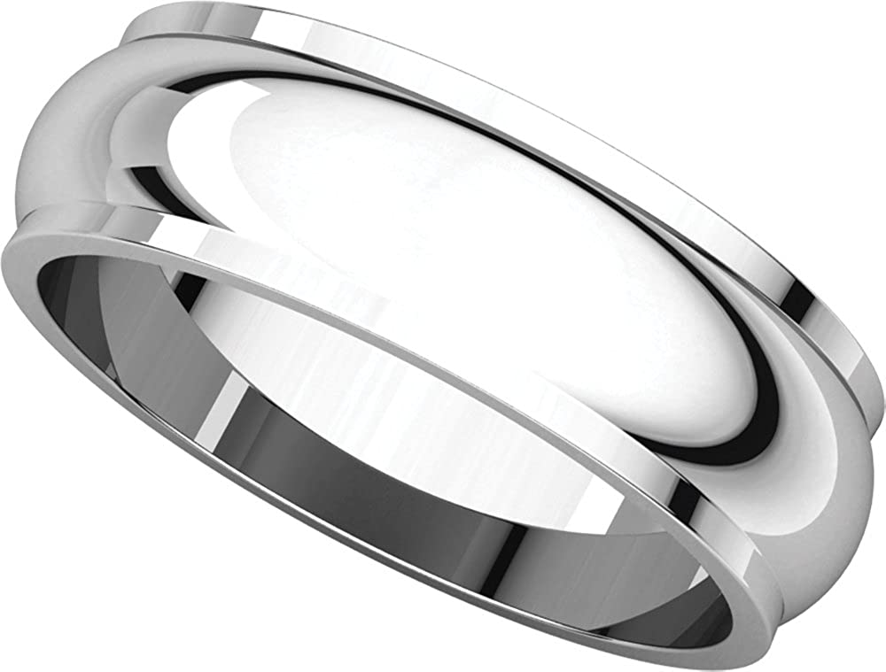 Mens 10K White Gold 6mm Edged Half Round Wedding Band Ring