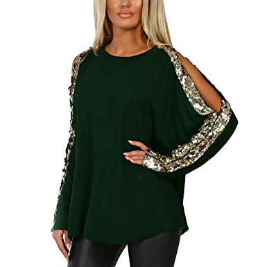 429c4b5473158a LISTHA Sequins Cold Shoulder Blouse Women O-Neck Long Sleeve Hollow Out Tops