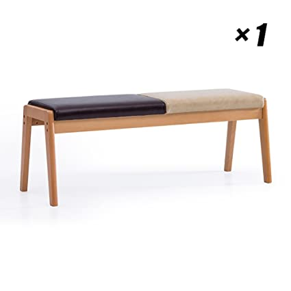 Amazon.com - Modern Long Lounge Chairs Wooden Dining Seat PU Kitchen ...