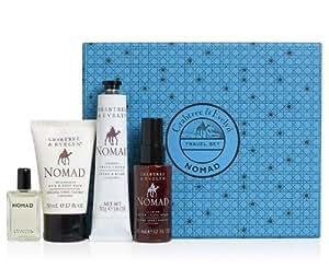 Crabtree & Evelyn Nomad Sampler Gift (4pc -Hair & Body Wash 1.7oz - Shave Cream 1.8oz - Aftershave Balm 1.7oz & Nomad Cologne 8mL)