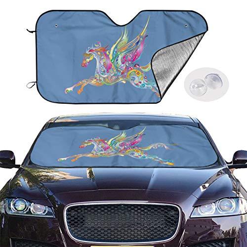 Art-Capital Windshield Sun Shade Prismatic Winged Horse Car Sunshade Universal for Compact Cars Trucks Vans Foldable Sunshade for Car Windshield UV & Sun Protection Keep Car Cooler Size S/M
