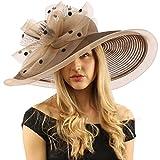 Graceful Simamay Polka Dot Floral Kentucky Derby Floppy 7'' Brim Dress Hat Mocha