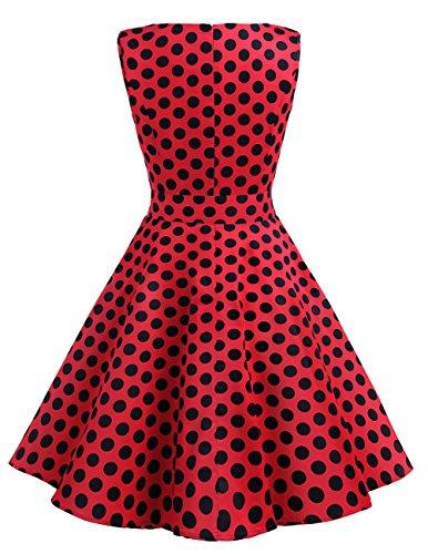Rond 50 12 Black Manches 0 Red Rtro de Soire Version Vintage Robe Dresstells 1950's Cocktail sans col Dot Annes POw5AqpwS