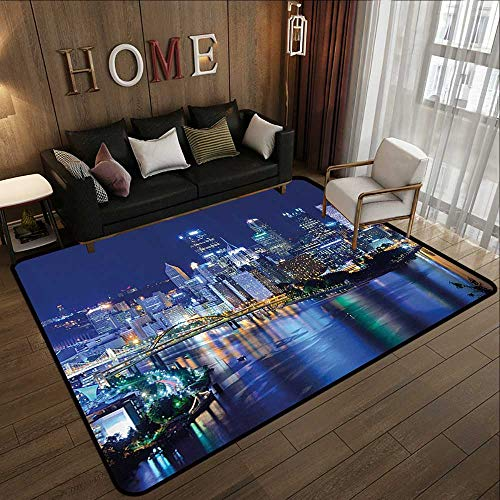 (Best Floor mats,Cityscape,Skyscrapers Downtown Pittsburgh USA American Night Skyline Business Town Scenery,Grey Blue 47