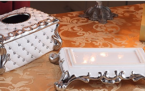 Hyun times European-style tissue box pumping tray Decoration luxury living room coffee table household ceramic grade paper box pumping Household American by Hyun times tissue box (Image #3)