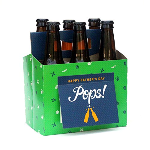Beer Greetings - Father's Day + Hooray + Thanks - Six Pack Greeting Card Box (Set of 4 Card Boxes in Father's Day, Congrats and Thanks Designs) (Fathers Day Beer Gifts)