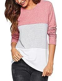 Amoretu Women Round Neck Striped Short Sleeve Summer T-Shirts Casual Blouse Tops
