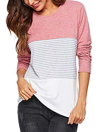 (Amoretu Women's Long Sleeve Casual Round Neck Striped T Shirts Loose Tops Pink)