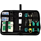 Network Cable Repair Maintenance Tool Kit Set 11 in 1 Portable Phone Cable Crimper 8P8C 4P4C 6P6C Connectors RJ45 RJ11 Cat5 Cat6 Cable Tester