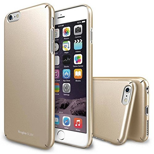 iPhone 6 Case, Ringke [SLIM] Snug-Fit Slender [Tailored Cutouts][1 FREE HD Screen Protector][ROYAL GOLD] Lightweight & Thin Scratch Resistant Coating Protective Cover for Apple iPhone 6 4.7