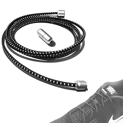 ILIVABLE No Tie Shoelaces for Kids and Adults, Metal Lace Lock with Elastic Shoe Laces System for Sneaker Running Shoes, Board Shoes and Casual Shoes (Silver Zebra, 1 Pack)