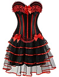 Women s Halloween Party Masquerade Gothic Brocade Lace Gothic Corset Skirt  Set d59869ff7