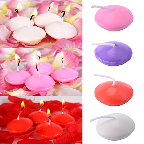 Sundlight Floating Candles for Weddings, Home Decoration, Relaxation, Spa, Smokeless Cotton Wick Pack of 10 - White