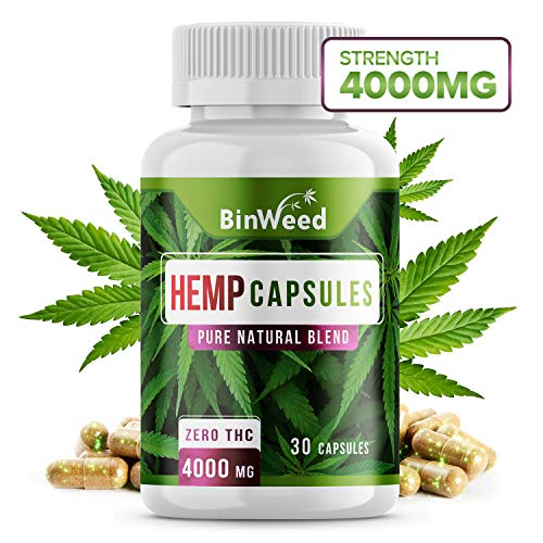 Maximum Strength Hemp Oil Capsules | 4000mg per Bottle | Zero THC | Relieves Pain + Stress + Anxiety + Insomnia & More | 30 Capsules (Best Over The Counter Pain Medicine)