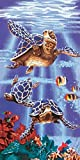 Island Gear Purple Views Under The Water Sea Turtles Beach Towel, 30 x 60 Inches